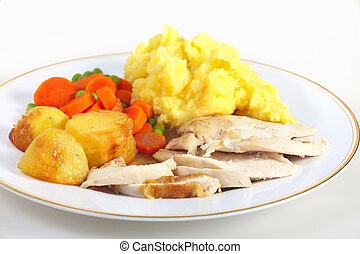 Roast chicken dinner - A dinner of roast chicken served with...
