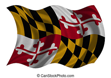 Flag of Maryland wavy on white, fabric texture - Flag of the...