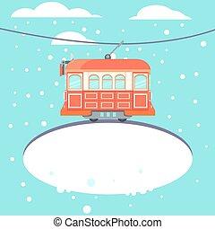 Winter tram - Red vintage tram on winter street. Vector...