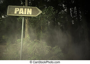 old signboard with text pain near the sinister forest -...