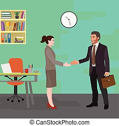 meeting in the office - business man and business woman...