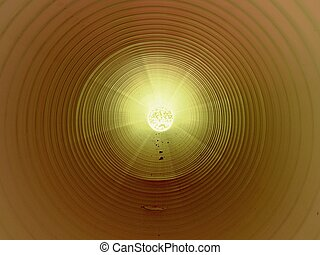 View inside of long plastic tube under ground. Colorful...