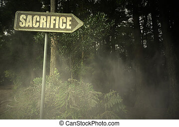 old signboard with text sacrifice near the sinister forest