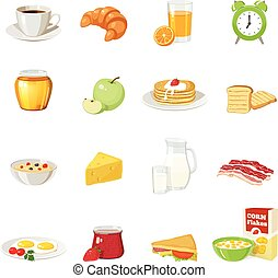 Breakfast Food Icon Set - Sixteen isolated breakfast food...