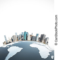 Urbanization concept - Abstract earth with cityscape on...
