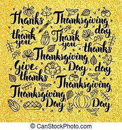 Thanksgiving Day Gold Lettering Design. Vector Illustration...