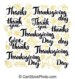 Thanksgiving Day Lettering Design. Vector Illustration of...