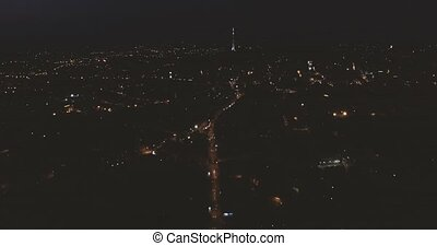 Night Old City Lviv - Aerial view Night Old City Lviv