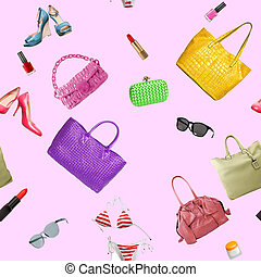 collection collage of women's accessories - seamless pattern...