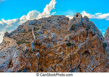 Ruins of Alanya castle at top of rock