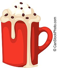 Cacao drink cup vector - Hot chocolate in red cup christmas,...