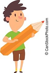 Boy holding pencil vector.