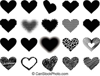 Black heart vector icon - Simple black heart sharp vector...