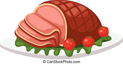 Meatloaf vector illustration. - Homemade ground beef...