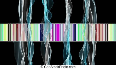 Fantastic video animation with particle wave object in slow motion on color changing stripes,