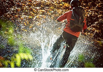 High Speed Bike Ride Mountain River Crossing with Huge Water...