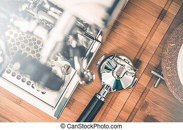 Coffee Machine Station. Shiny Silver Espresso Coffee Machine...