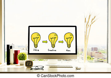 Drawn lamps on computer screen