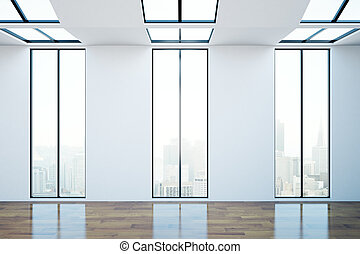 Room with numerous windows - Front view of modern room with...