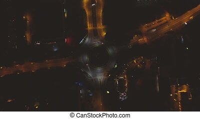 Roundabout Traffic From night city Lviv - Highway Roundabout...