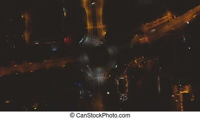 Roundabout Traffic city - Traffic From Above Aerial night...
