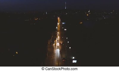 Night Old City Lviv - Traffic From Above Aerial Night City...
