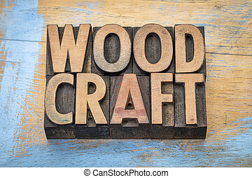 woodcraft word abstract in wood type