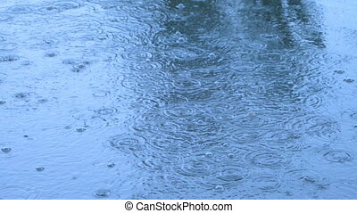 Heavy rain in the street early afternoon - Closeup shot of...