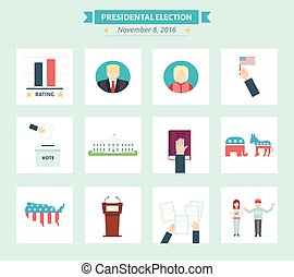 USA presidental election Icons set. Vote concept symbols in...