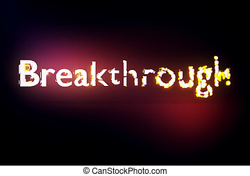 Breakthrough concept. Creative voluminous writing on red...