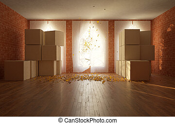 Room with cardboard boxes front - Front view of red brick...