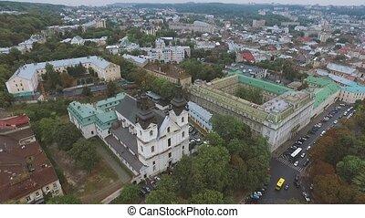 City Lviv Ukraine - Historical bilding From Above Aerial...