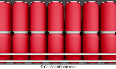 Red cans at grocery store. Soda or beer on supermarket...