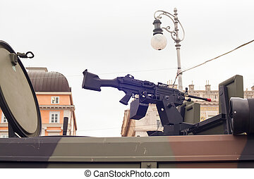 Machine gun on military truck - Machine gun on the Italian...