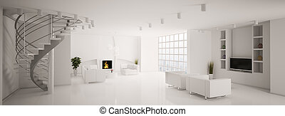 Modern living room panorama 3d - Modern living room with...