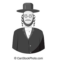 Jew man icon, gray monochrome style - Jew man icon. Gray...
