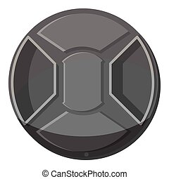 Cover on lens camera icon, gray monochrome style - Cover on...