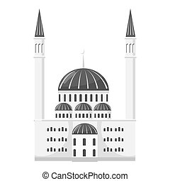 Synagogue icon, gray monochrome style - Synagogue icon. Gray...