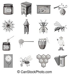 Apiary icons set, gray monochrome style - Apiary icons set....