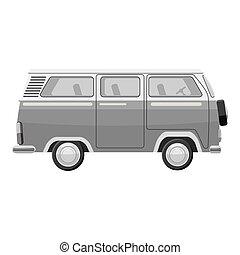Mini bus icon, gray monochrome style - Mini bus icon. Gray...