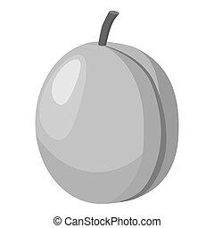 Peach icon, gray monochrome style - Peach icon. Gray...