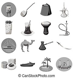 Turkey icons set, gray monochrome style - Turkey icons set....