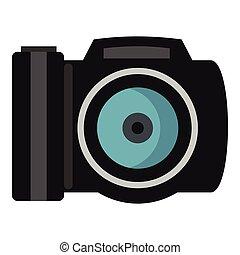 Photocamera icon, flat style - Photocamera icon. Flat...
