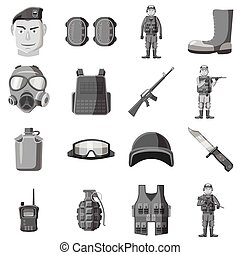 Military equipment icons set gray monochrome style -...