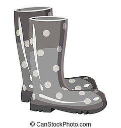 Rubber boots icon, gray monochrome style - Rubber boots...