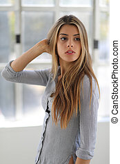 Beautiful Blond Woman with Brown Eyes - Photo of a very...