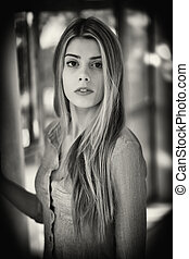 Beautiful Blond Woman with Brown Eyes - Black and white...