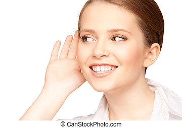 gossip - bright picture of teenage girl listening gossip