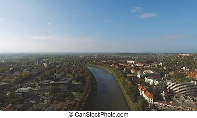 Beautiful city with river - Aerial shot with Beautiful city