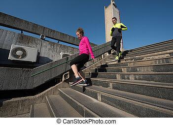 joggning, Steg, par, ung